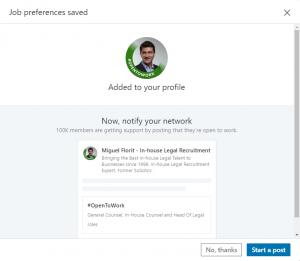 Linkedin #OpenToWork Legal Recruitment Florit Legal