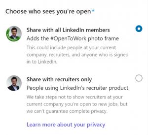 Linkedin OpenToWork Profile Preferences Florit Legal Recruitment